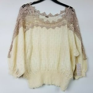 Free People L Ivory Lace Cropped Top 6AR61